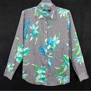 LRL Black White Striped Floral Button down Shirt L